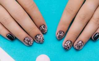 Маникюр на коротких ногтях с рисунком