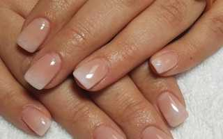 Маникюр на короткие ногти нежные френч