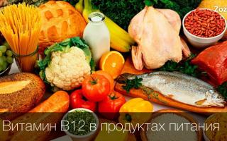 В 12 в продуктах питания таблица