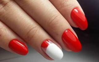 Маникюр красный с белым фото дизайн
